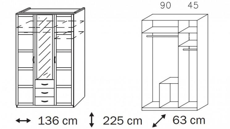 Klasická Elementa C A1008.50R3 (Buk natur/sklo bordó)