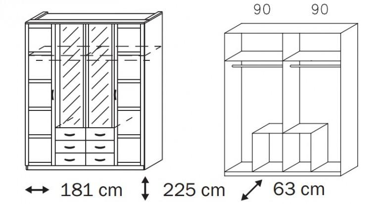 Klasická Elementa C A1008.50S4 (Buk natur/sklo černé)