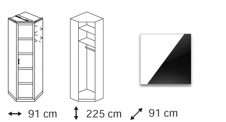 Klasická Elementa C (Alpská bílá/sklo černé)