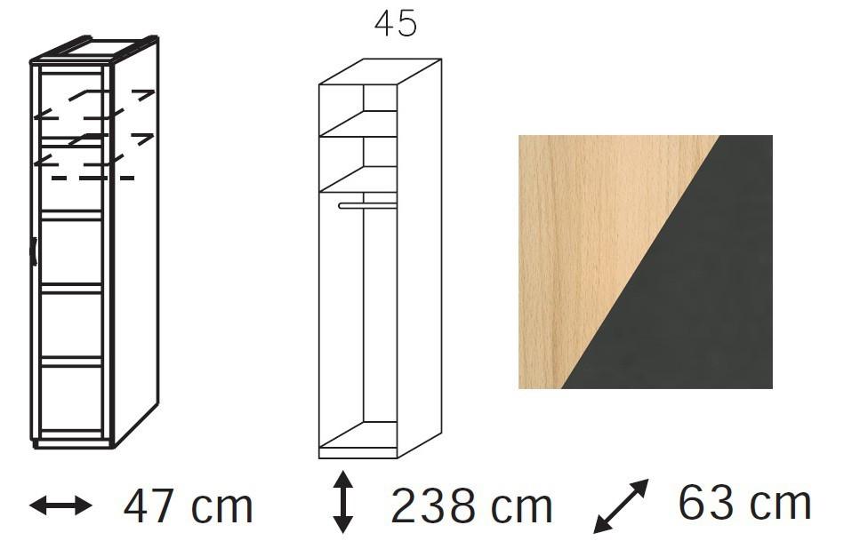 Klasická Elementa C - šatní skříň, 1x dveře