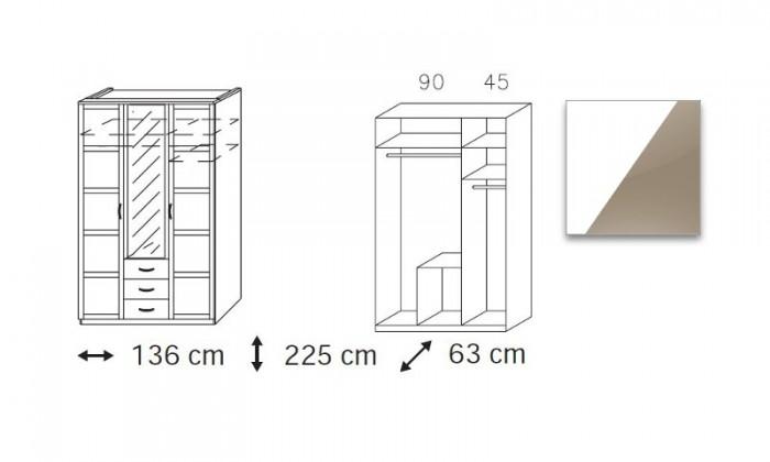 Klasická Elementa C-šatní skříň,2x dveře,1x dveře se zrcadlem,3x zásuvka