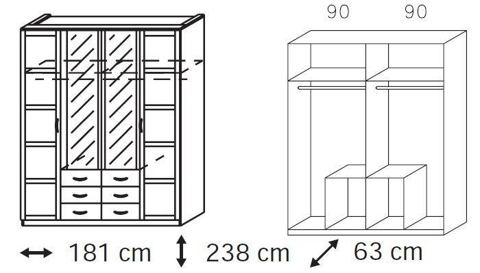 Klasická Elementa C-šatní skříň,2x dveře,2x dveře se zrcadlem,6x zásuvka
