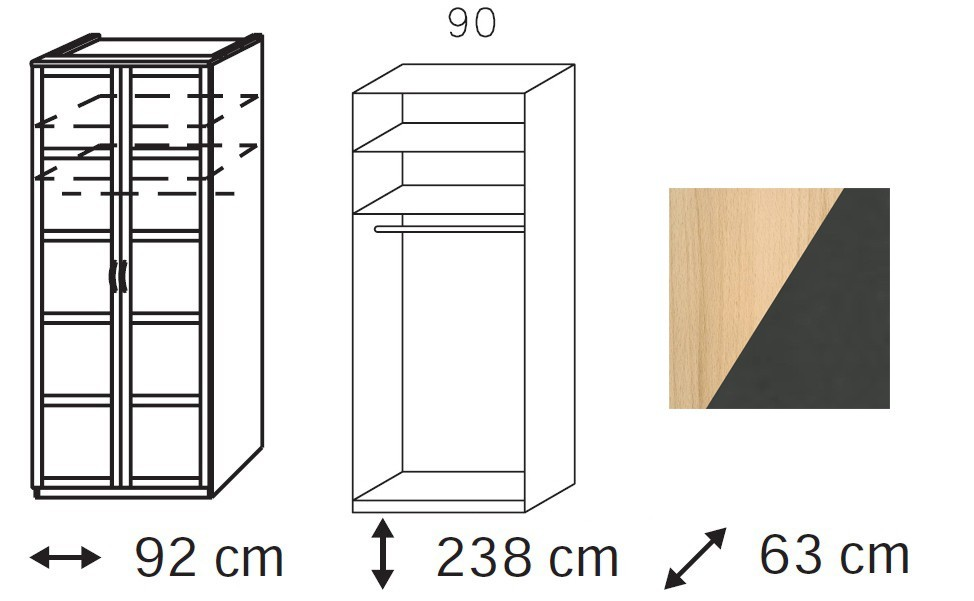 Klasická Elementa C - šatní skříň, 2x dveře