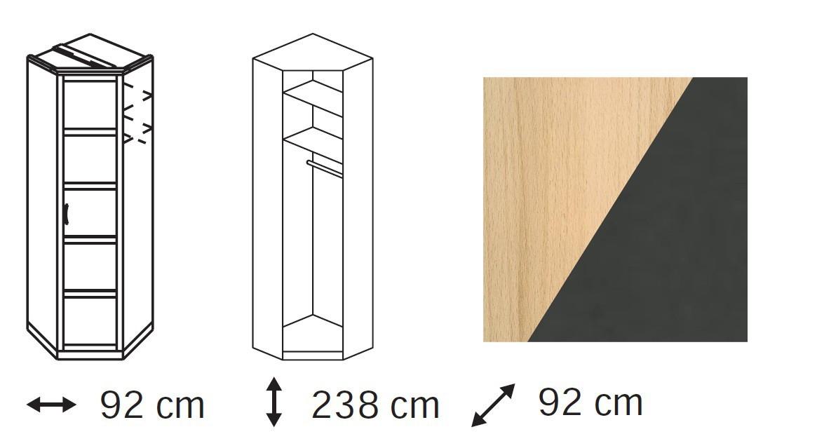 Klasická Elementa C - skříň rohová, 1x dveře