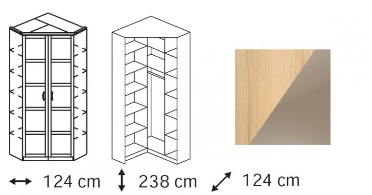 Klasická Elementa C - skříň rohová, 2x dveře