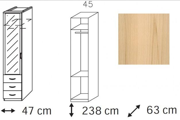 Klasická Elementa - šatní skříň, 1x dveře se zrcadlem, 3x zásuvka