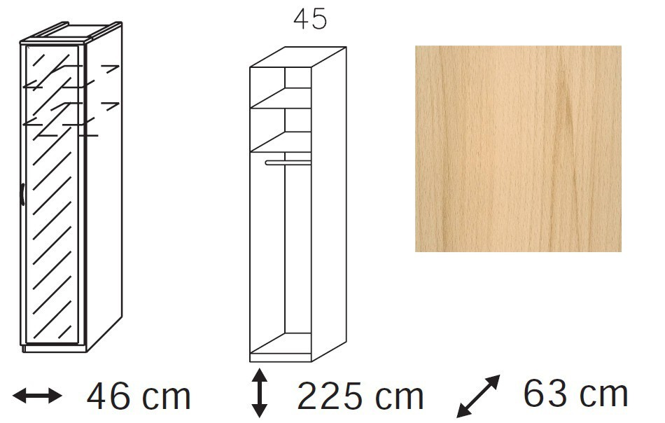 Klasická Elementa - šatní skříň, 1x dveře se zrcadlem