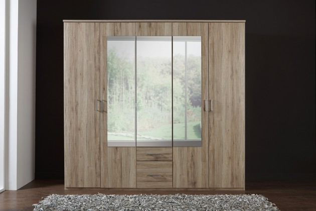 Klasická Madrid - Šatní skříň, 5x dveře (dub san remo)