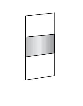 Klasická Match Up - Dveře, 3xdekor, 1xsklo (š 313,dub Montana/bílé sklo)