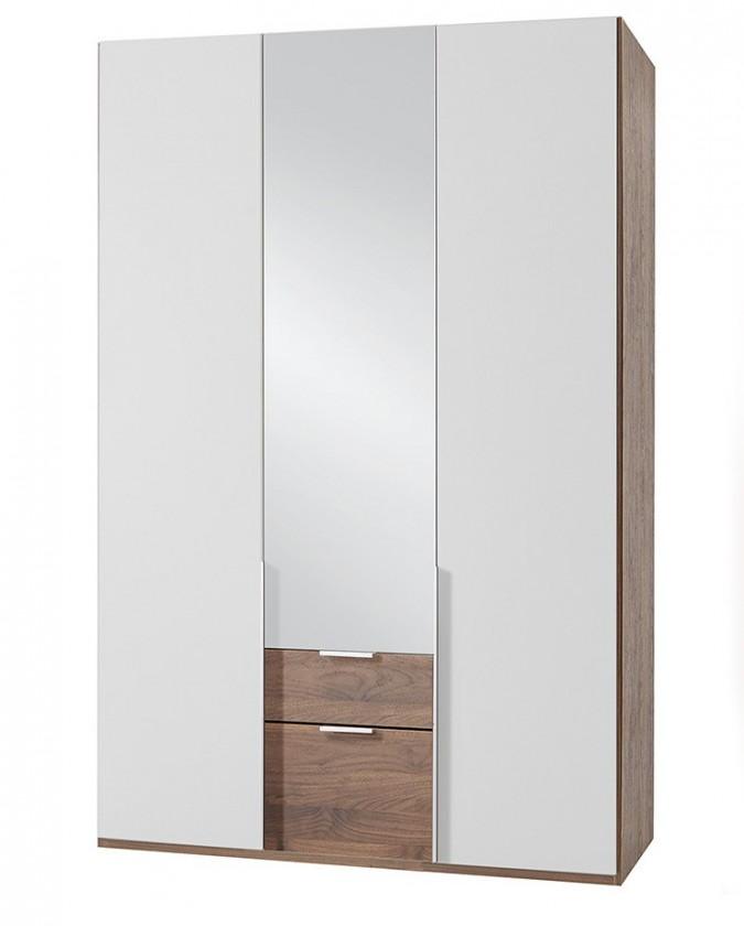 Klasická NewYork37 - Skříň, 135/208/58 (alpská bílá/ořech)