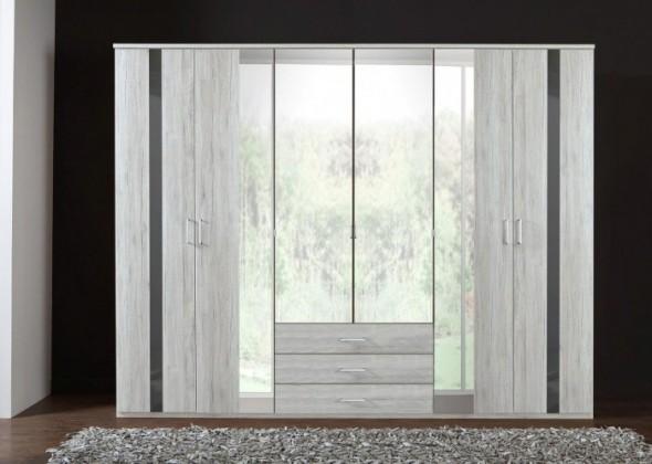 Klasická Nizza-skříň 4x dveře,4x zrcadlo (dub bílý+šedá vysoký lesk)