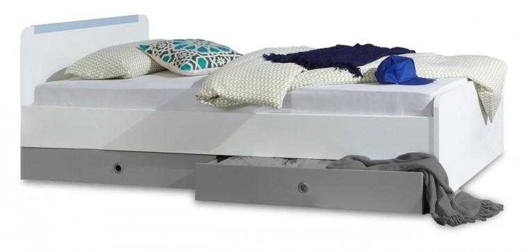 Klasická postel Bibi - Postel 90x200cm  (alpská bílá, modrá)