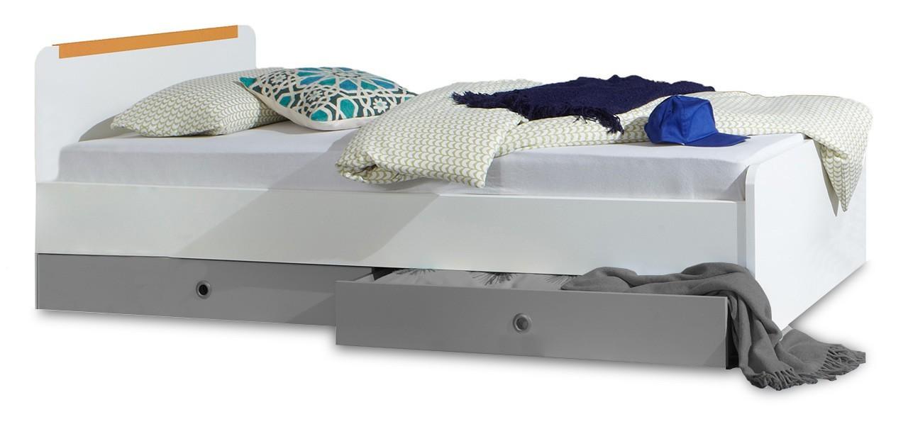 Klasická postel Bibi - Postel 90x200cm  (alpská bílá, oranžová)
