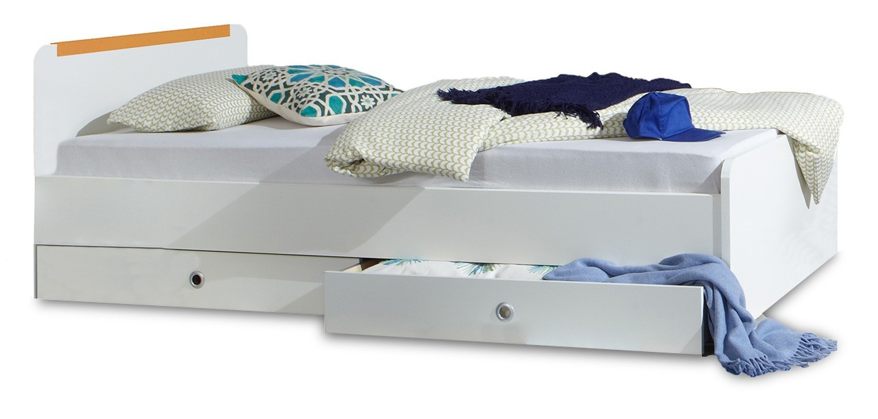 Klasická postel Bibi - Postel, s úložným prostorem (alpská bílá, oranžová)