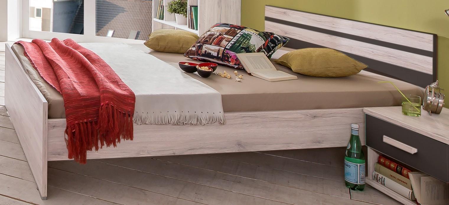 Klasická postel Cariba - Postel 120x200cm (bílá dub, černá láva)