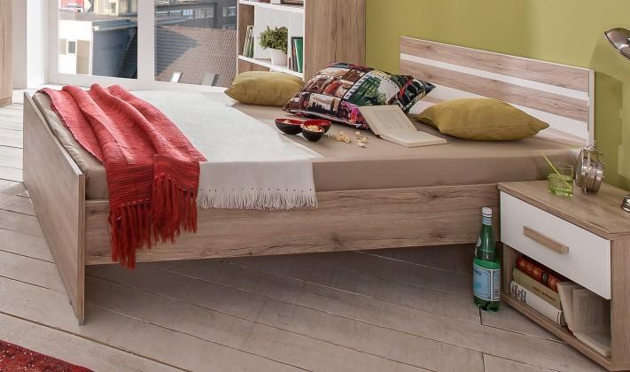 Klasická postel Cariba - Postel 90x200cm (san remo dub, bílá)