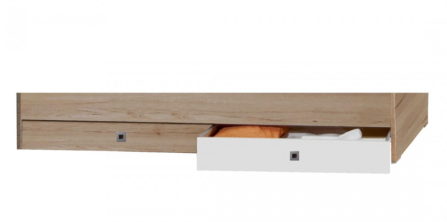 Klasická postel Cariba - Úložný prostor pod postel (san remo dub, bílá)