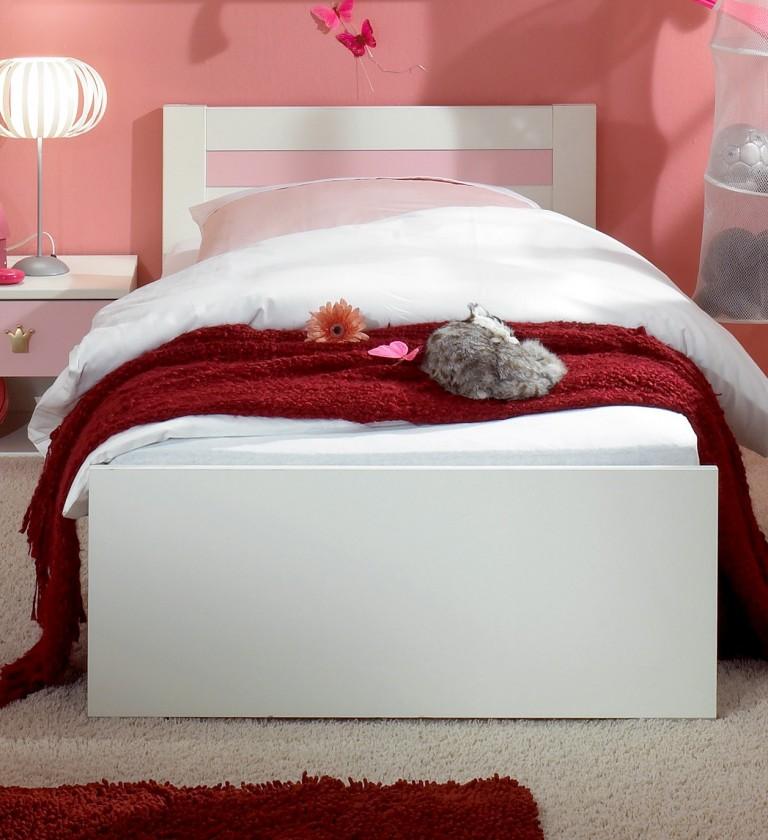 Klasická postel Cinderella - Dětská postel 90x200 (bílá, růžová)
