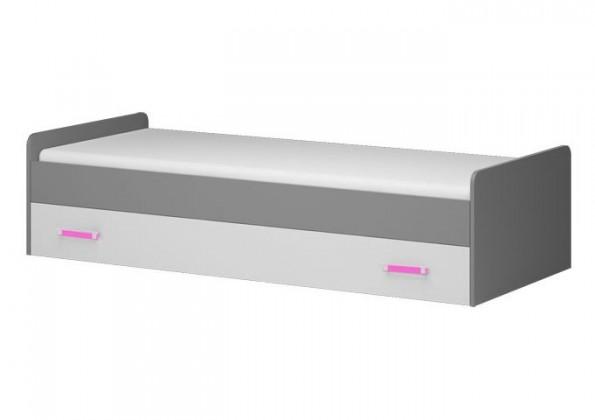 Klasická postel Diego 17 - Postel (přední strana bílá/šedé boky/růžový úchyt)