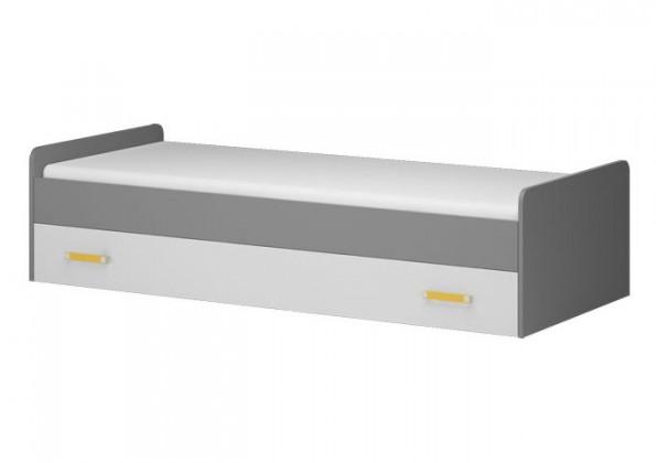 Klasická postel Diego 17 - Postel (přední strana bílá/šedé boky/žlutý úchyt)