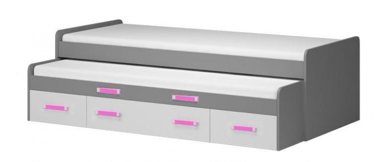 Klasická postel Diego 18 - Postel (přední strana bílá/šedé boky/růžový úchyt)