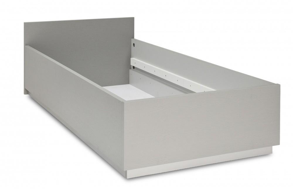 Klasická postel Dreamliner - Postel (dub šedý/bílá vysoký lesk)