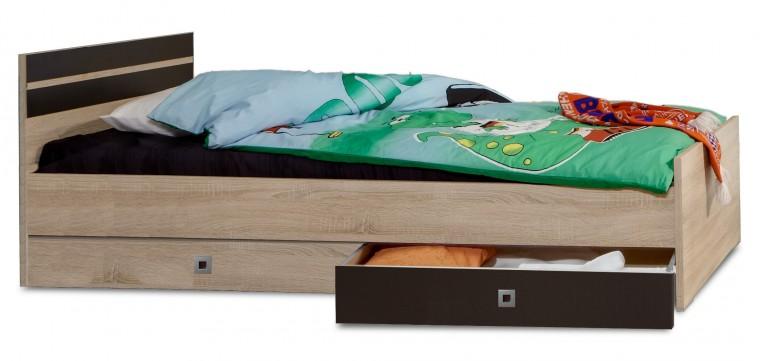 Klasická postel Game - Postel, 140x200, úložný prostor (dub, černá)