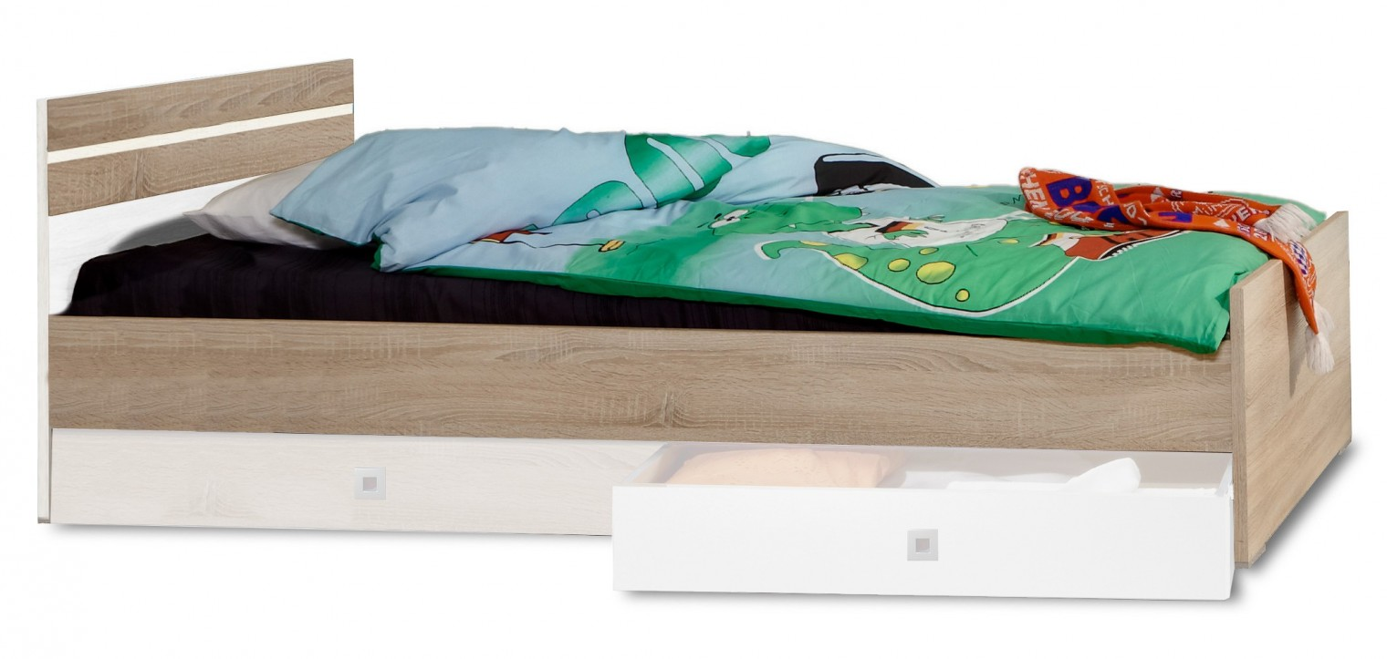 Klasická postel Game - Postel, 90x200 (bílá, dub)