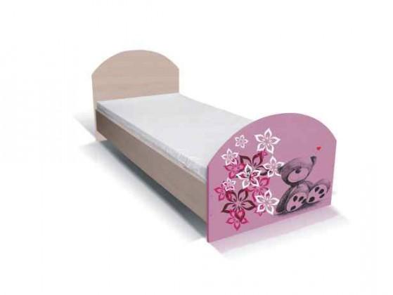 Klasická postel Junior - Postel, medvídek 16 (bříza/růžová)