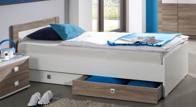 Klasická postel Kira-324288(alpská bílá / dub montana)