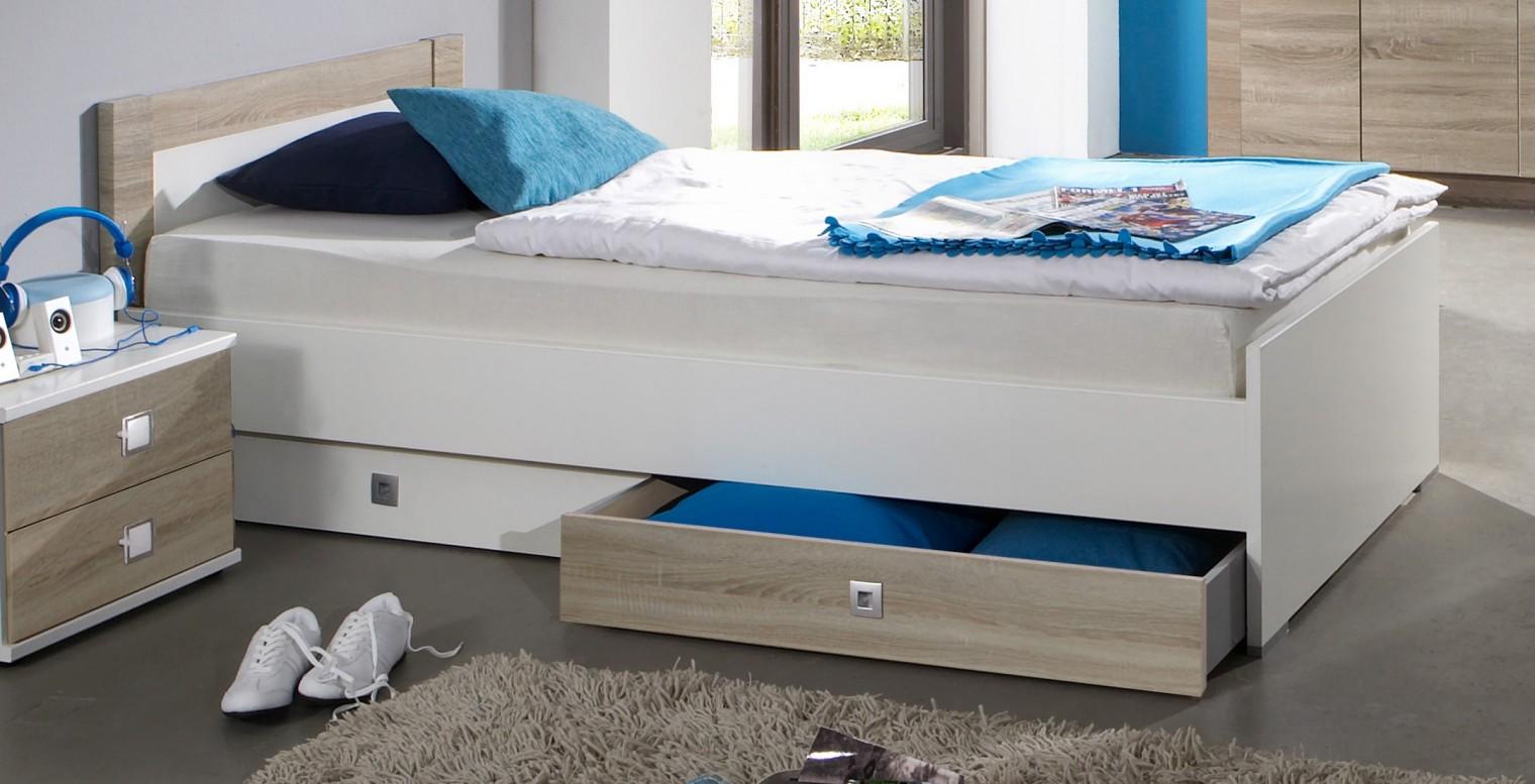 Klasická postel Kira-325299(alpská bílá / dub pílený)