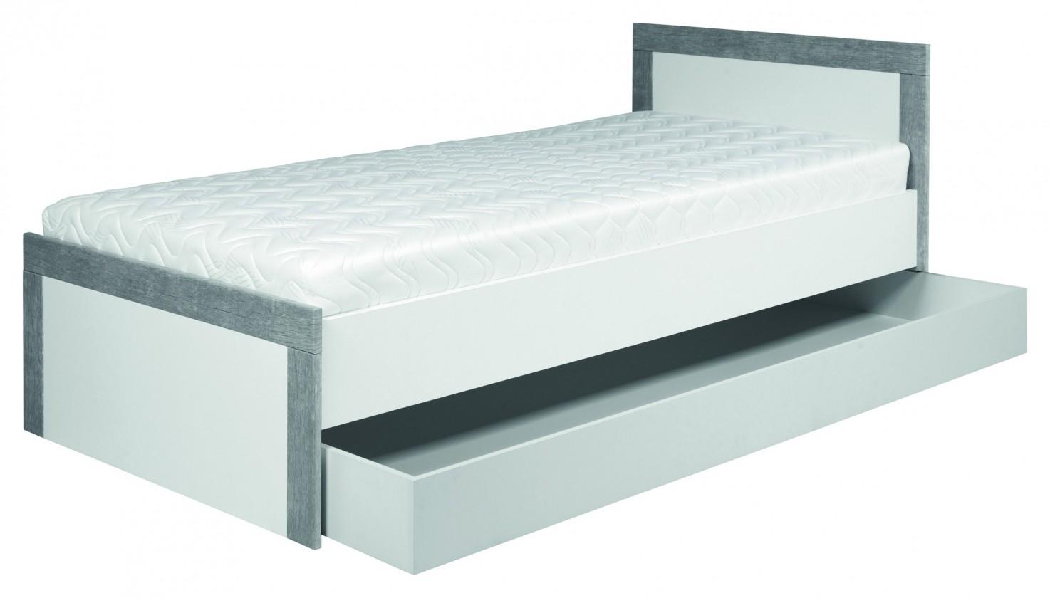 Klasická postel Lightning - Postel 90x200cm (bílá, šedá)