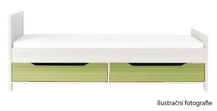 Klasická postel Monza - úl. prostor pod postel, CD 16 (višeň cornvall, zelená)