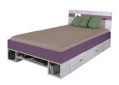 Klasická postel NEXT NX 18 (borovice/fialová)