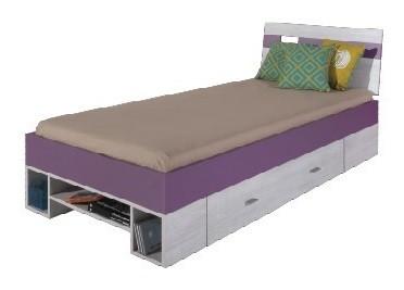 Klasická postel NEXT NX 19 (borovice/fialová)