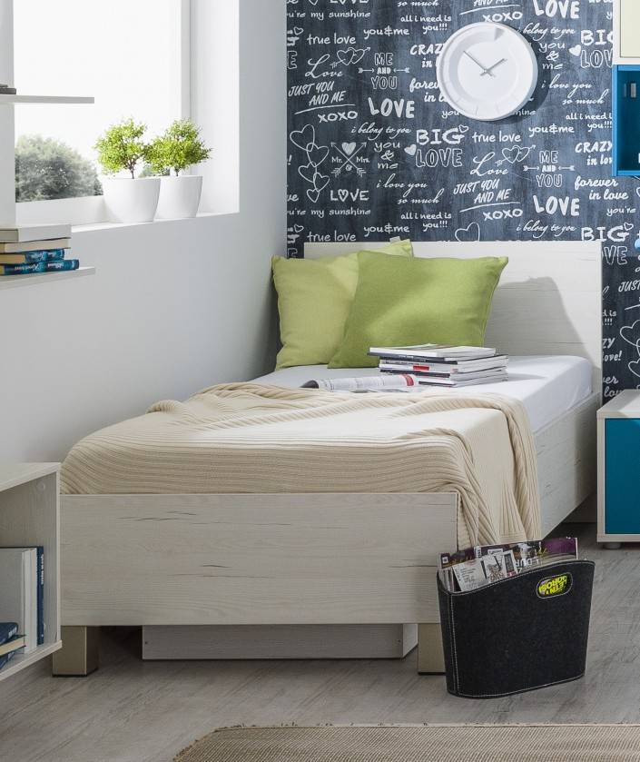 Klasická postel Pine Aurélio - Postel 120x200, úložný prostor (bílá)