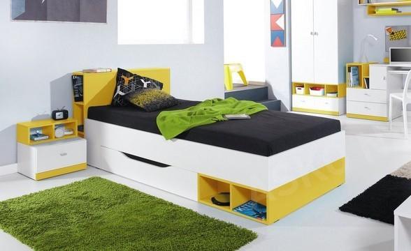 Klasická postel Postel MOBI MO 18 (bílá lesk/žlutá)