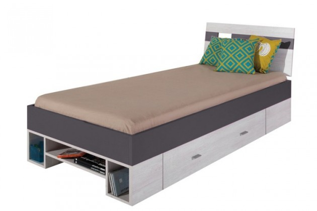 Klasická postel Postel NEXT NX 19 (borovice/šedá)