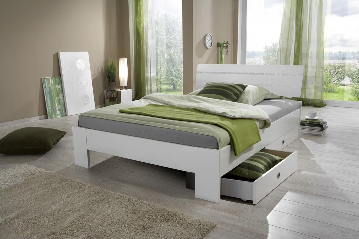 Klasická postel Postel Nightlight - Postel 140x200 (bílá/křišťálové kamínky)