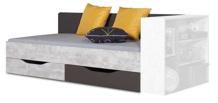 Klasická postel Postel Tablo - 90x200 cm, rošt (grafit/enigma)