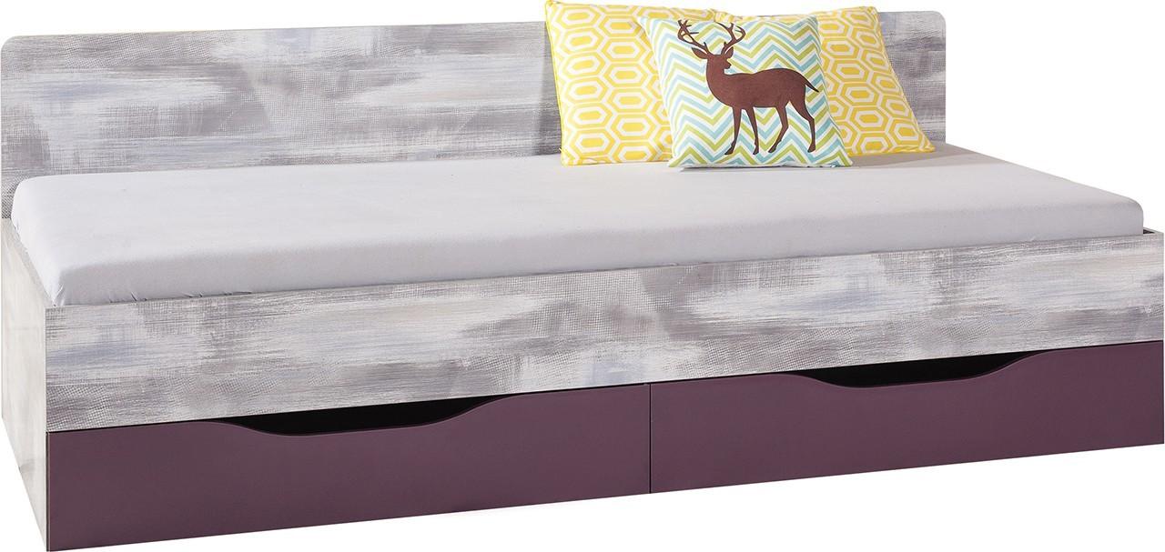Klasická postel Postel Zoom - s úložným prostorem ZM12A P/L (antic/fialová)