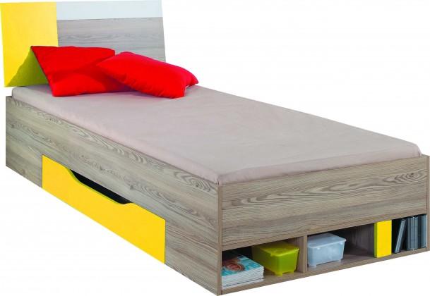 Klasická postel SAJMON SJ 24 L/P (modřín/bílá lesk/žlutá)