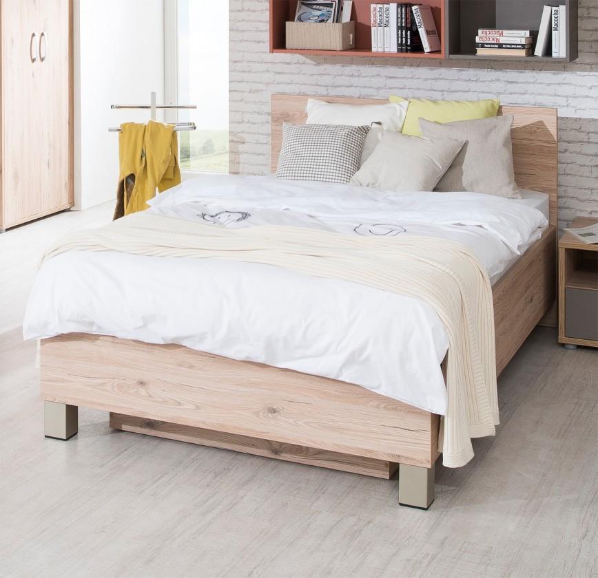 Klasická postel Sand - Postel 120x200 cm, typ 83, s úložným prostorem (dub)