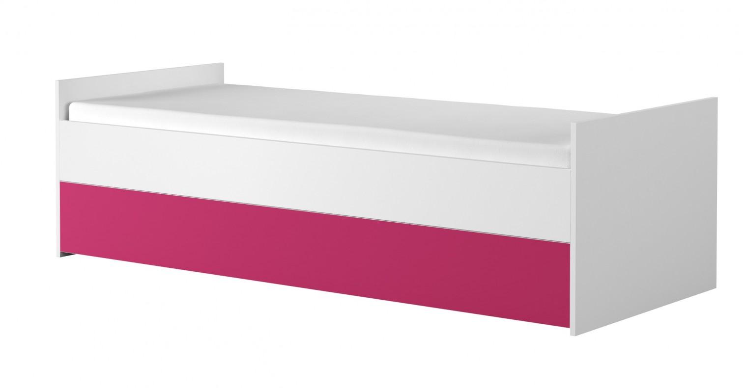 Klasická postel Simba 15(korpus bílá/front bílá a růžová)