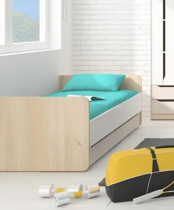 Klasická postel Smart - Postel 90x200cm (buk ibsen, bílá, champagne)