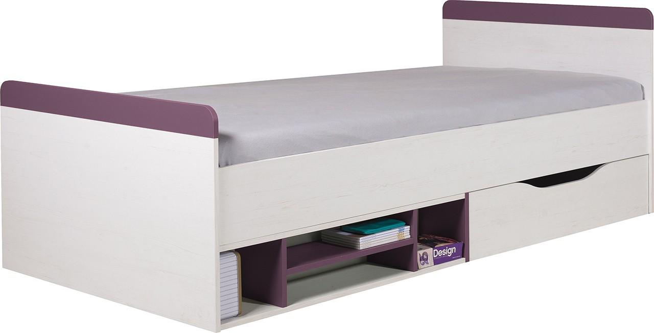 Klasická postel Stone - Postel ST14 P/L (bílá, fialová)
