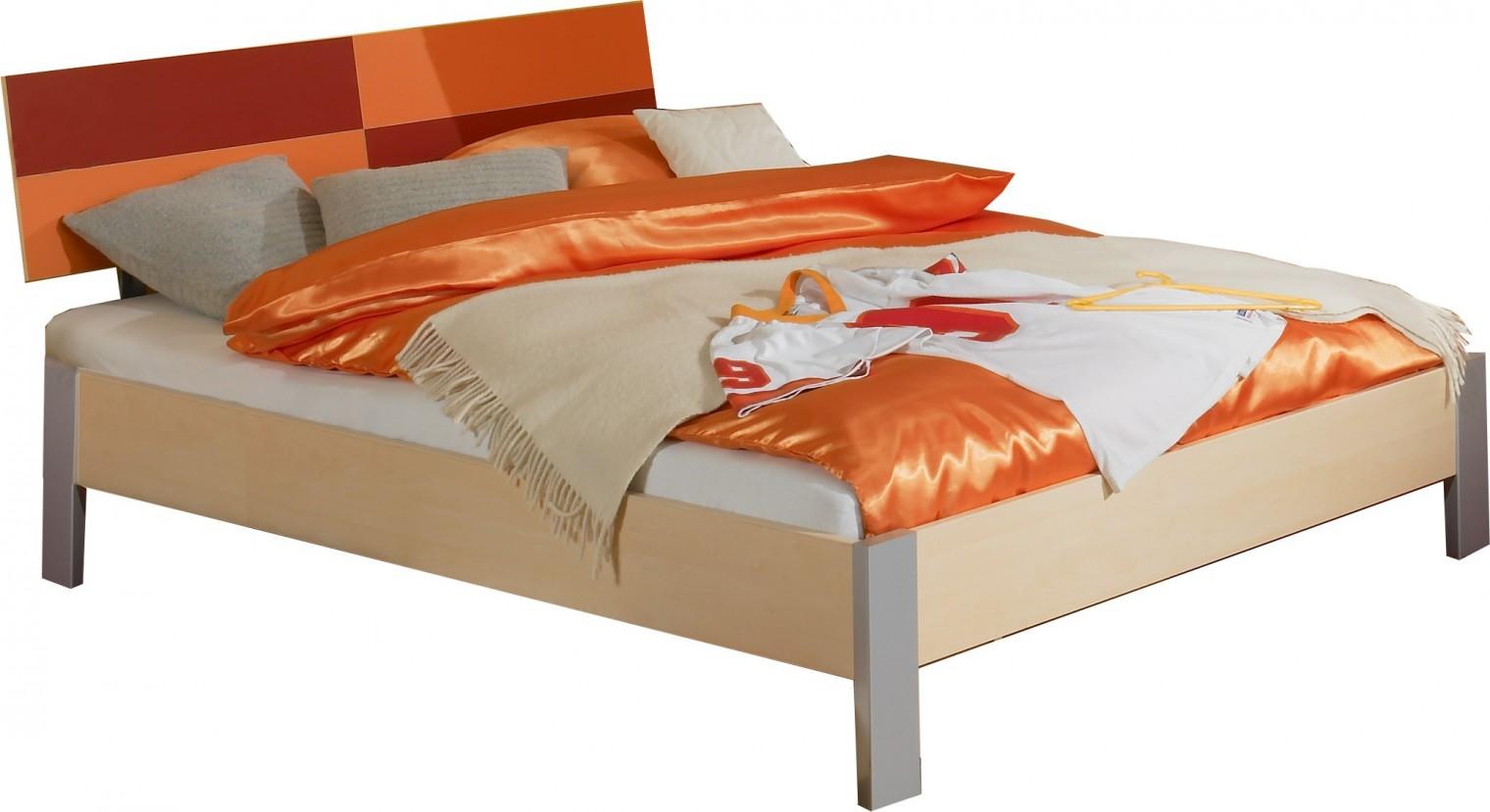 Klasická postel Sunny - Postel, 140x200 cm (červenooranžová)