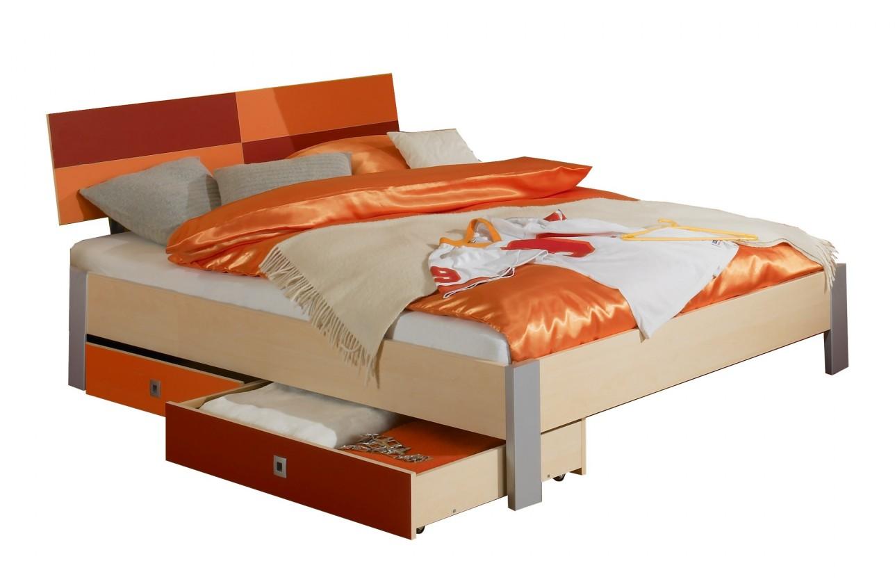Klasická postel Sunny - Postel, 140x200, s úložným prostorem (červenooranžová)