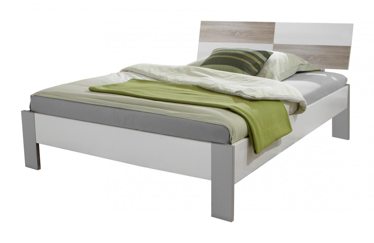Klasická postel Sunny - Postel, 140x200cm (dub, alpská bílá)