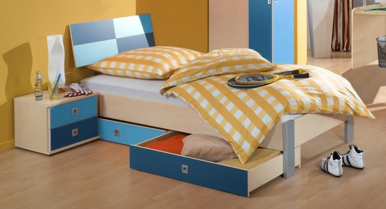 Klasická postel Sunny - Postel, 90x200, s úložným prostorem (námořní modř)